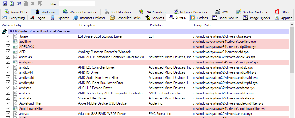 Image showing AutoRuns64.exe interface