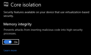 A screenshot of the Windows Core Isolation/Memory Integrity option in Windows 10.